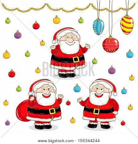Christmas Santa Claus characters vector. Merry Christmas and Happy New Year. Funny Santa Claus. Santa Claus in various poses. Xmas santa. Santa Claus in santa hat red. Santa Claus icon. Santa Claus flat design. Santa Claus red hat. Christmas Santa Claus.