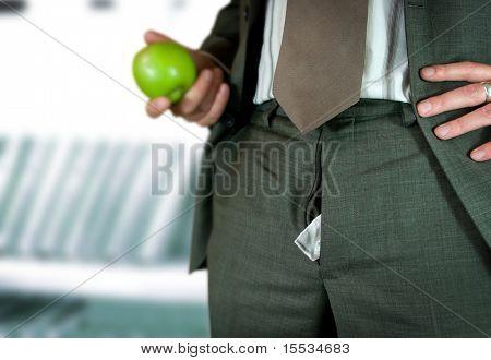 A businessman talking on a break - unaware of a escalating embarrassing moment...