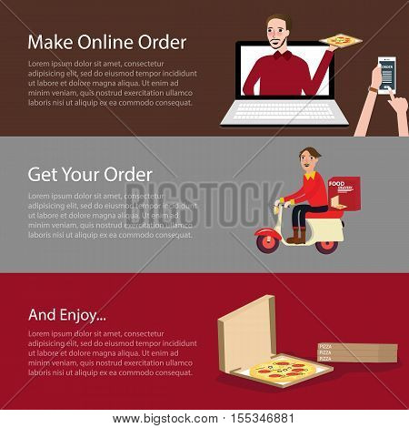 order pizza online food delivery mobile laptop vector