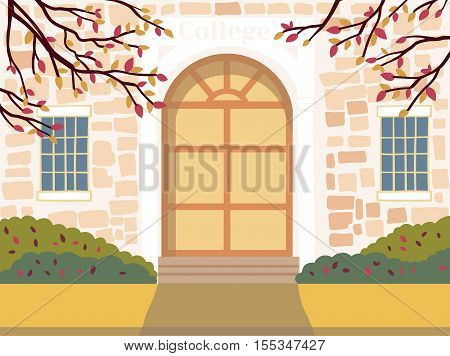 Vector illustration of  education building. The door of the institution. Autumn urban background.