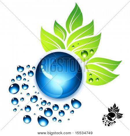 Ilustração do vetor de gotas de água e folhas verdes.
