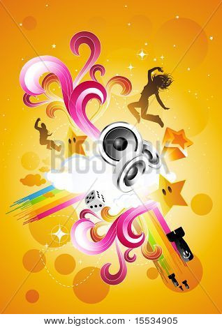 Live and Energetic! Vector illustration with various element - No Flattened Transparencies.