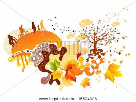 Autumn colour themed elements. Vector illustration. All elements are individual objects and no flattened transparencies.