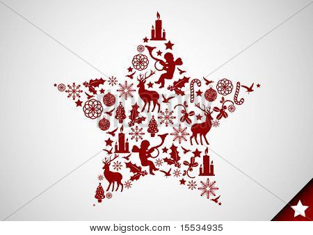 A christmas star made up of various christmas elements. Vector illustration.