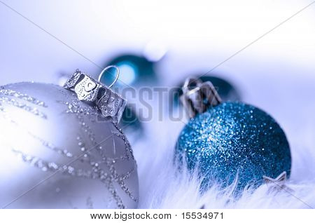 Blue and silver baubles christmas decorations.