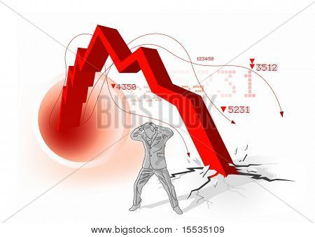 Conceptual image of a upset businessman with profits 'smashing' to the ground. Vector illustration.