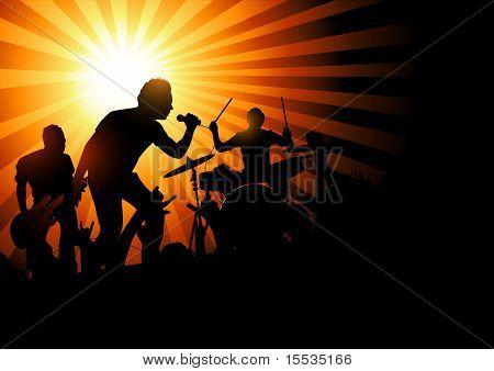 Eine Band spielen zu einer Masse der Fans... Vektor-Illustration.