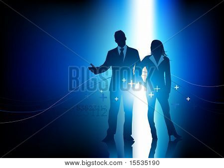 Um casal de pessoas de negócio profissional. Ilustração vetorial.