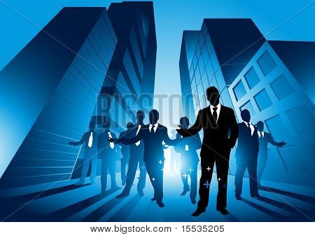 A group of professionals in the big city. Vector illustration.