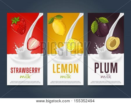 Milkshake concept with milk splash and fruit vector illustration. Milk dessert, yogurt, fruit mix, cocktail drink, fruit smoothie with plum, lemon, strawberry packaging design template. Dairy product.