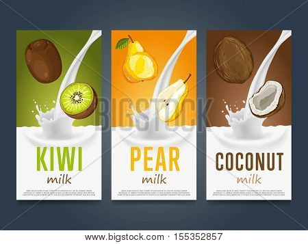 Milkshake concept with milk splash and fruit vector illustration. Milk dessert, yogurt, fruit mix, cocktail drink, fruit smoothie with kiwi, pear and coconut packaging design template. Dairy product.