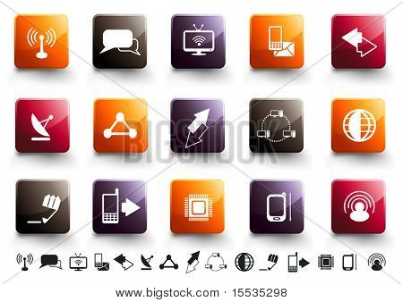 A collection of 15 communication and technology icons in high gloss finish.