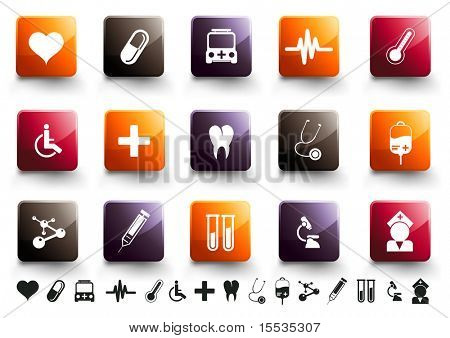 A collection of 15 medical and healthcare icons in high gloss finish.