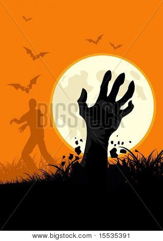 Zombies everywhere! Get into the spirit of halloween with this zombie themed vector.