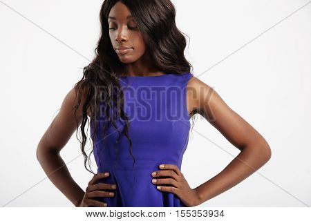 Black Woman With Long Wavy Hair. Extensions Concept