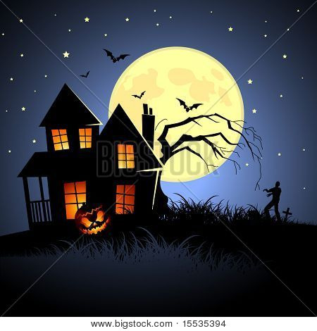 Haunted Halloween House! Vector illustration.