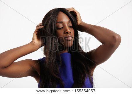 black woman with long straight hair portrait