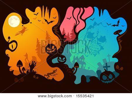 Halloween história... o que você vê? Ilustração vetorial.