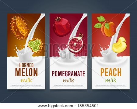 Milkshake concept with milk splash and fruit vector illustration. Milk dessert, yogurt, fruit mix, cocktail drink, fruit smoothie with horned melon, pomegranate, peach packaging design. Dairy product.