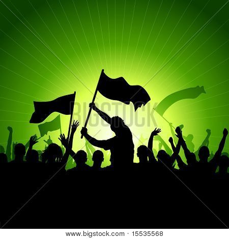 A crowd of people with flags and banners. Vector illustration