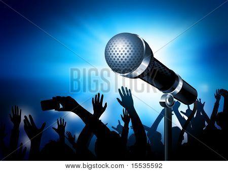 Ein Mikrofon, strahlend mit einem Publikum im Hintergrund. Vektor-illustration