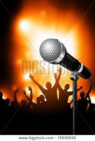 Ein Mikrofon auf der Bühne mit einem Publikum von Fans im Hintergrund. Vektor-Illustration.