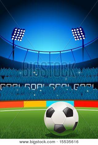 A football  placed on a football stadium. Vector illustration.