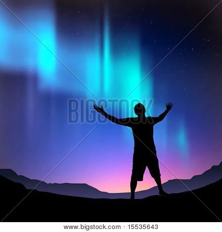 A man reaching outwards, with the northern lights above him. Vector illustration.