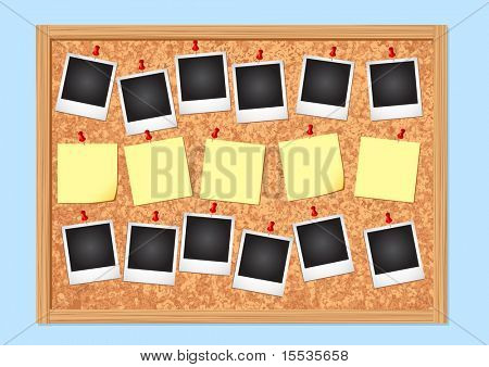 Cork Notice board. Vector illustration.