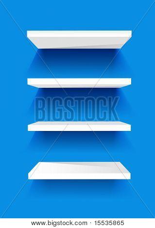 Estantes de libro blanco sobre una pared pintada de azul. Fondo de vector.