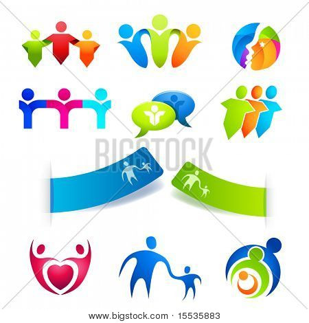 United People Symbols, stickers and  icons. Vector illustrations.