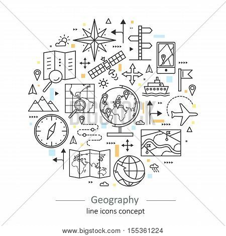 Modern color thin line concept of geography for school, university and training. Vector illustration with different elements on the subject geography. Logo Concepts for Trendy Designs.