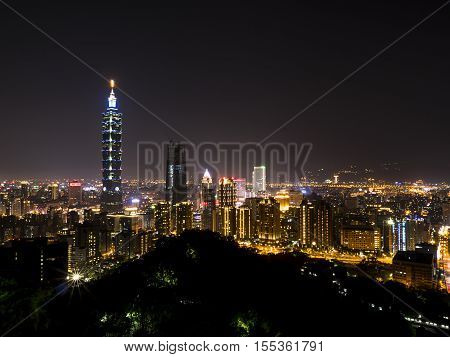 Cityscape nightlife view of Taipei. Taiwan city skyline at twilight time public scene from view point at Elephant Mountain Hiking Trail.