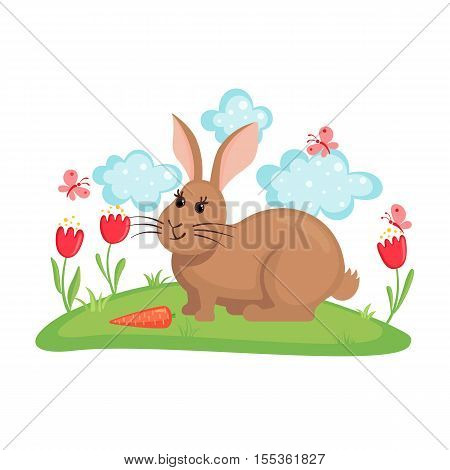 Cute bunny on lawn with flowers and butterflies isolated on white background. Farm animal rabbit with carrot. Funny rabbit in flat style. Vector illustration.