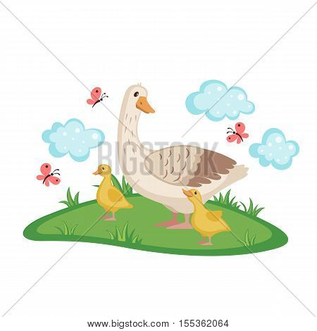 Cute goose with goslings and eggs on green grass isolated on white background. Farm birds. Goose in cartoon style. Vector illustration.