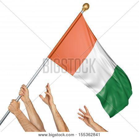 Team of peoples hands raising the Ivory Coast national flag, 3D rendering isolated on white background