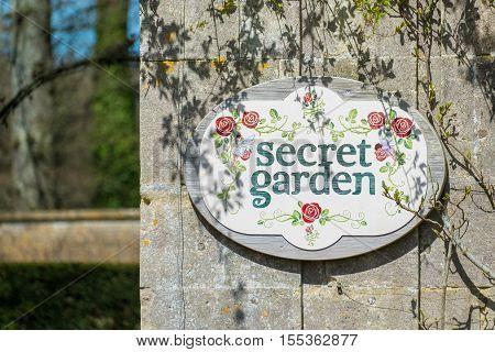Secret garden sign on the entrance to a Secret Garden.