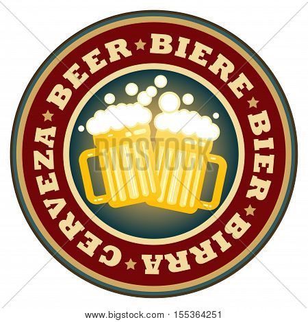 Label with beer mugs and the text Beer written inside, vector illustration