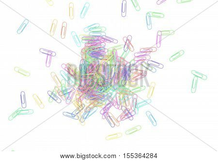 Many Color Paperclips On Desk