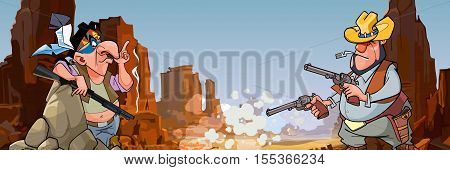 cartoon Injun with a gun and a cowboy with revolvers in stone canyon