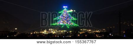 Panoramic view of famous christmas tree in Gubbio