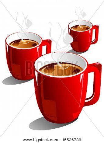 Vector café en taza roja