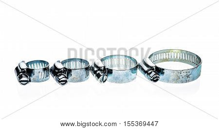 Stainless Steel Metal Hose Clamp Isolated On A White Background.