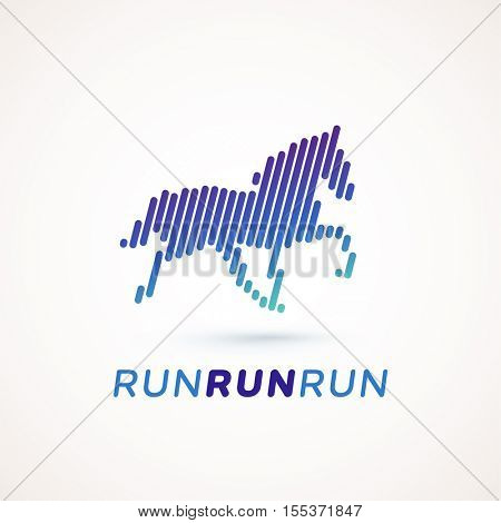 Run logotype. Running horse silhouette made out of dynamic lines. Equalizer design style. Could be used as icon or pictogram.