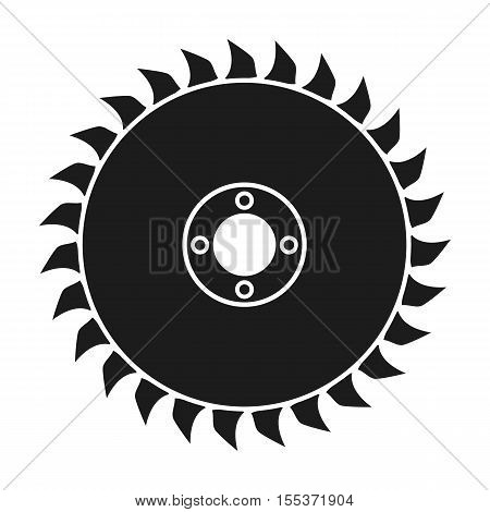 Saw disc icon in black style isolated on white background. Sawmill and timber symbol vector illustration.