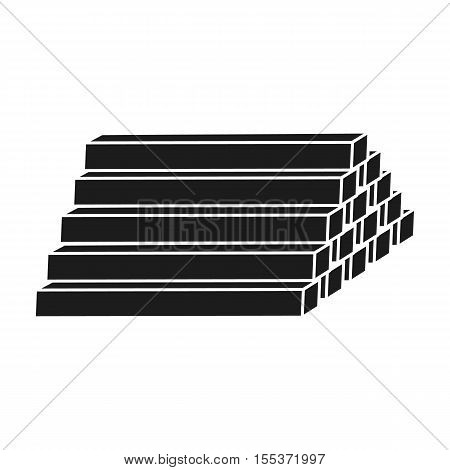 Stack of lumbers icon in black style isolated on white background. Sawmill and timber symbol vector illustration.