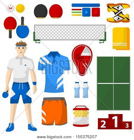 ping pong icons set. sport equipment and uniform for workout and tournament. Vector isolated illustration on white background.