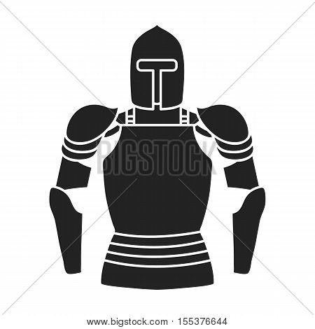 Plate armor icon in black style isolated on white background. Museum symbol vector illustration.