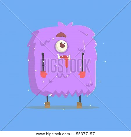 Giant Violet Furry Square Monster In Winter. Funky Creature Colorful Character With Party Attributes On White Background.