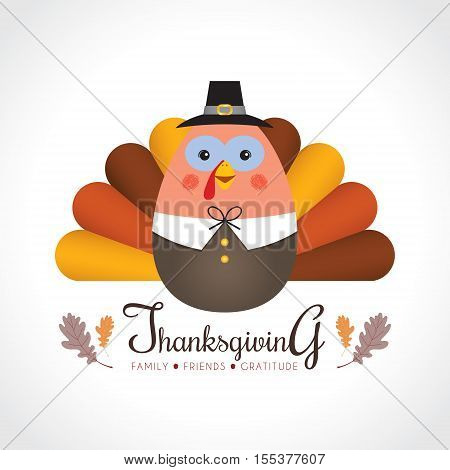 Happy Thanksgiving / Give thanks. Cute cartoon thanksgiving turkey isolated on white background. Vector illustration.